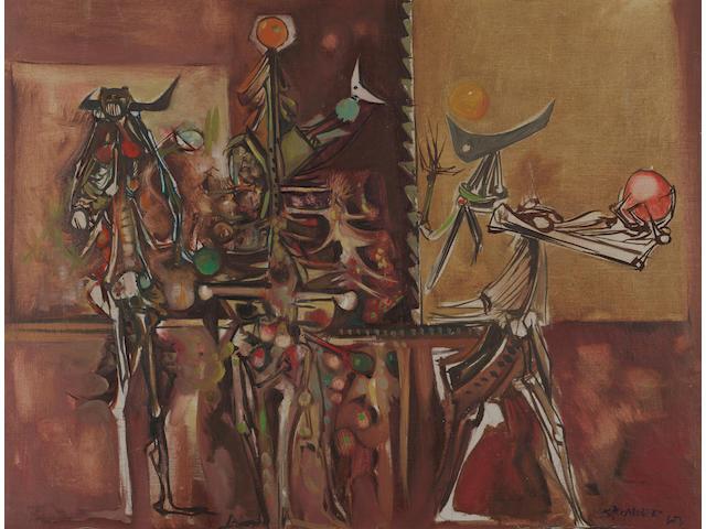 "Alexander ""Skunder"" Boghossian (Ethiopian, 1937-2003) The Jugglers 19 1/8 x 25in (48.5 x 63.5cm)"