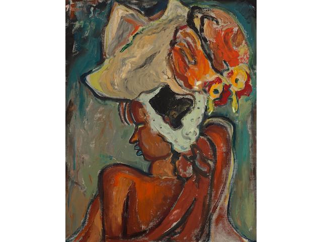 Irma Stern (South African, 1894-1966) Zulu Girl with Cocks 33 x 26.5in (84 x 67cm)