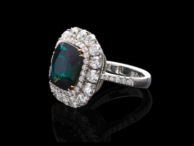 Rare and Exceptional Grandidierite and Diamond Ring