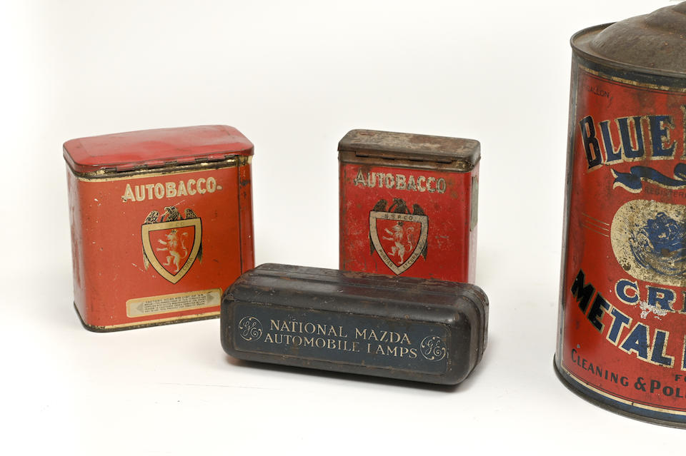 Two tins decorated with motor racing images, American, circa 1920,