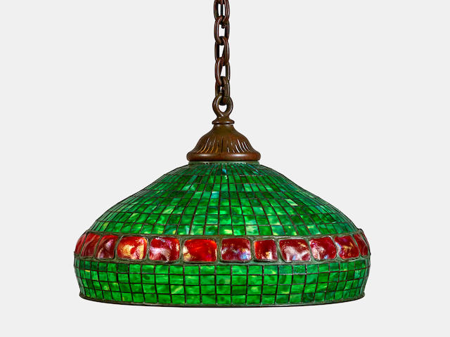 Tiffany Studios (1899-1930) Geometric and Banded Turtle-Back Tile Hanging Lampcirca 1905leaded glass and patinated bronze, stamped 'TIFFANY STUDIOS NEW YORK 1503-14' height of shade 15in (38cm), diameter 22in (56cm)