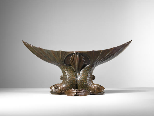 Edouard Marcel Sandoz (1881-1971) Deux Poissonsdated 1920-21patinated bronze, with copper liner, signed 'Ed. M. Sandoz' and dated, with foundry stamp 'Cire Perdue Paris C. Valsuani'height 24 1/2in (61.5cm); length 50 1/2in (127.5cm); width 13 1/2in (34.3cm)