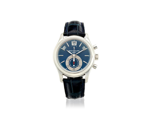 PATEK PHILIPPE. AN EXCEPTIONALLY FINE PLATINUM AUTOMATIC ANNUAL CALENDAR CHRONOGRAPH WRISTWATCH WITH POWER RESERVERef: 5960P-015, c.2010s