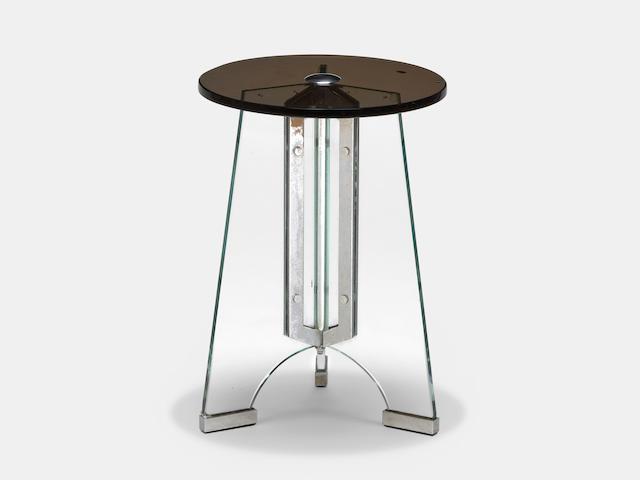 Luigi Fontana & C. Occasional Table circa 1935for Luigi Fontana & C., Trex clear glass, Temprit opaque glass, nickel-plated brass, manufacturer's paper labelheight 15 3/4in (40cm); diameter 12in (30cm)