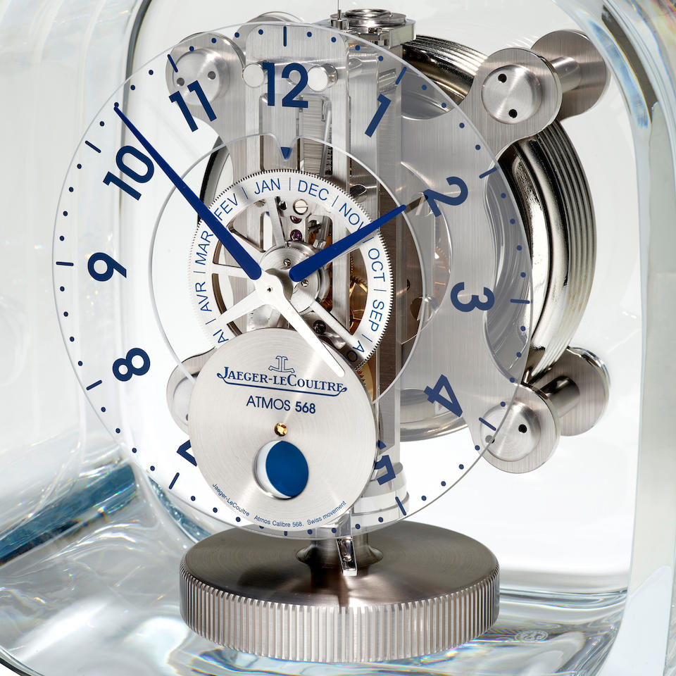 JAEGER-LECOULTRE. A REMARKABLE GLASS ENCLOSED ATMOS CLOCK WITH MONTH CALENDAR AND MOON PHASEDesigned by Marc Newson  Atmos 568, Ref: 5165107, 2017