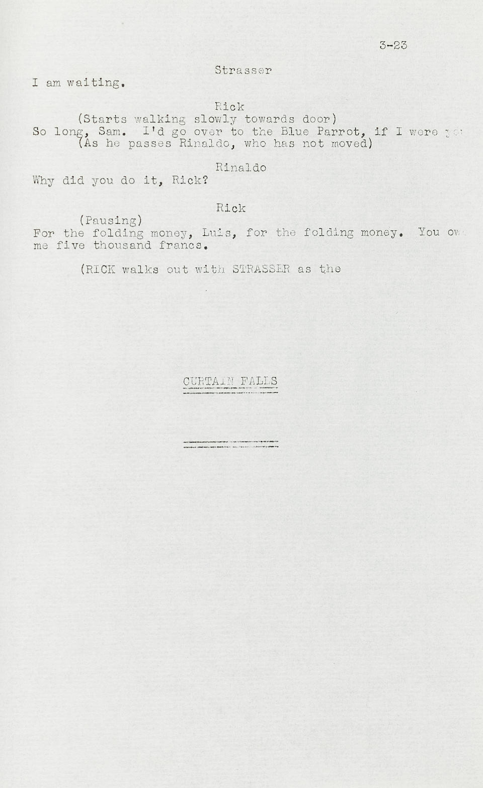 A playscript of Everybody Comes to Rick's, the basis for Casablanca