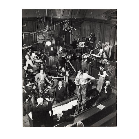 An Alfred Hitchcock group of oversized behind-the-scenes candid photos