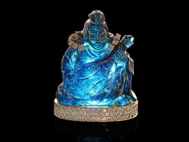 Carved Indicolite Tourmaline, Diamond and Gold Buddha Brooch