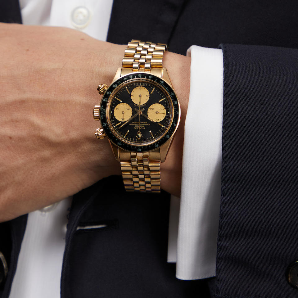 ROLEX. AN EXCEPTIONAL AND RARE 14K GOLD MANUAL WIND CHRONOGRAPH BRACELET WATCH Cosmograph, Ref: 6263/5, c.1977