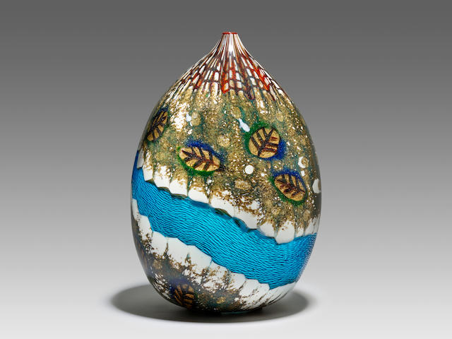YOICHI OHIRA (BORN 1946) Canale Grande Vase2002opaque glass with aventurine inclusions and transluscent glass band with surface carving and trapped air bubbles, engraved mark 'Yoichi Ohira Mo. L. Serena Mo. G. Barbini 1/1 Unico Thursday 25-9-2002 Murano'height 10 1/2in (27cm); diameter 7in (18cm)