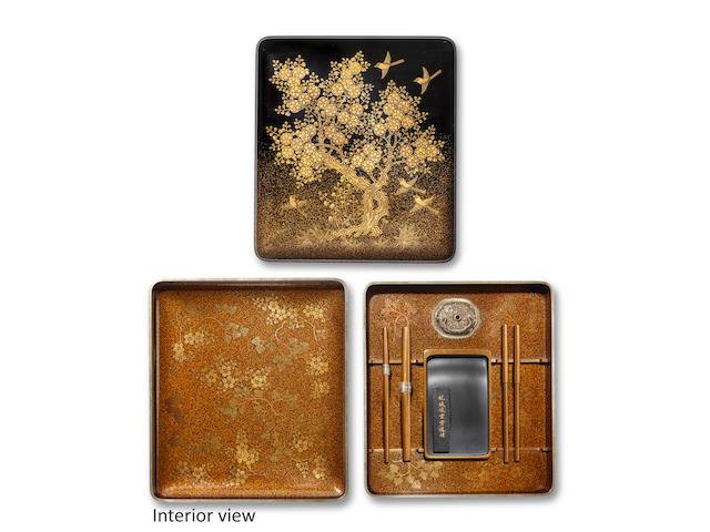 Uematsu Hobi (1872-1933) A lacquer suzuribako (writing box)Showa era (1926-1989), circa 1930