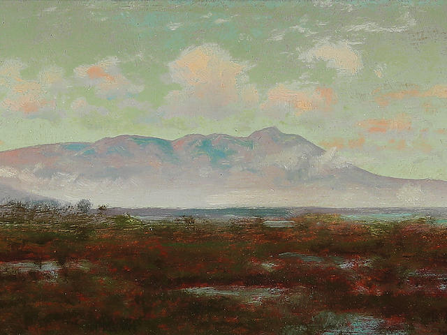 Charles Dormon Robinson (1847-1933) A View of Mt. Tamalpais 5 3/8 x 10 1/8in framed 8 x 12 5/16in