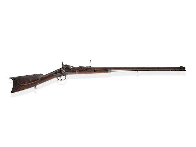 WILD BILL HICKOK'S SPRINGFIELD TRAPDOOR RIFLE BURIED BY HIS SIDE AT DEADWOOD SOUTH DAKOTA ON AUGUST 3, 1876. No visible serial number, circa 1870, .45-70 caliber 29 5/8 inch barrel, 1863 on tail of lock.