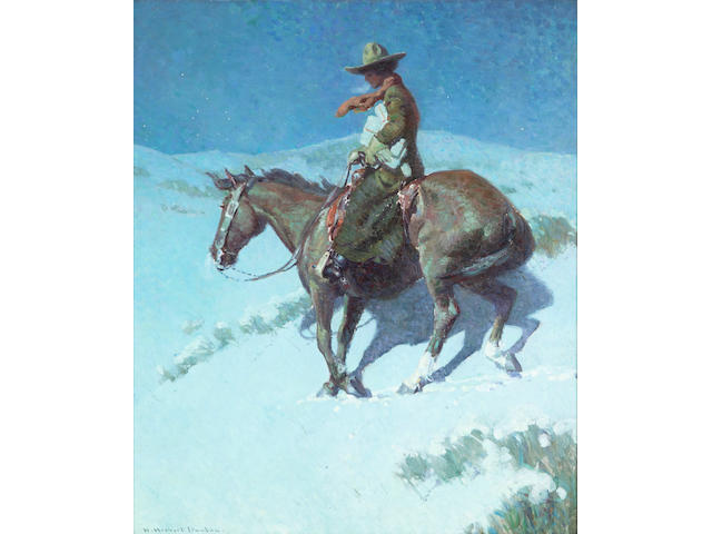 William Herbert Dunton (1878-1936) Delivering the Mail 30 x 25in framed 39 1/2 x 34 1/2in (Painted circa 1915.)