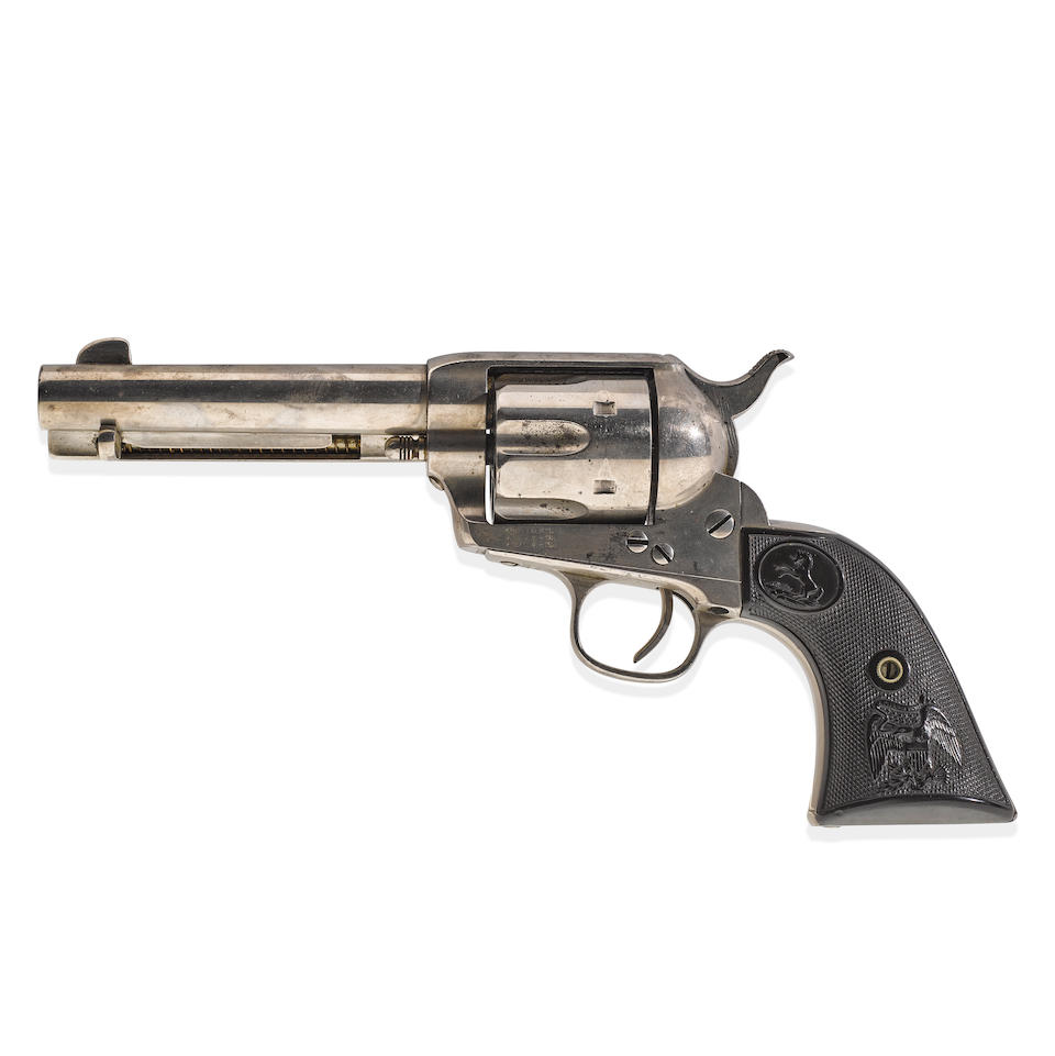 BAT MASTERSON'S COLT SINGLE ACTION ARMY REVOLVER, CUSTOM ORDERED FROM THE OPERA HOUSE SALOON, DODGE CITY, July 24, 1885.  Serial no. 112737 for 1884, .45 caliber 4 3/4 inch barrel.