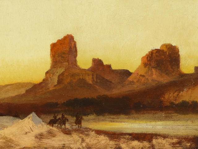 Thomas Moran (1837-1926) Indians at Green River 7 7/8 x 12 7/8in framed 15 x 20 1/4in
