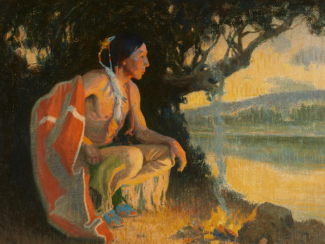 Eanger Irving Couse (1866-1936) Firelight, Outside 24 1/4 x 29 1/4in framed 33 x 38in (Painted in 1920.)