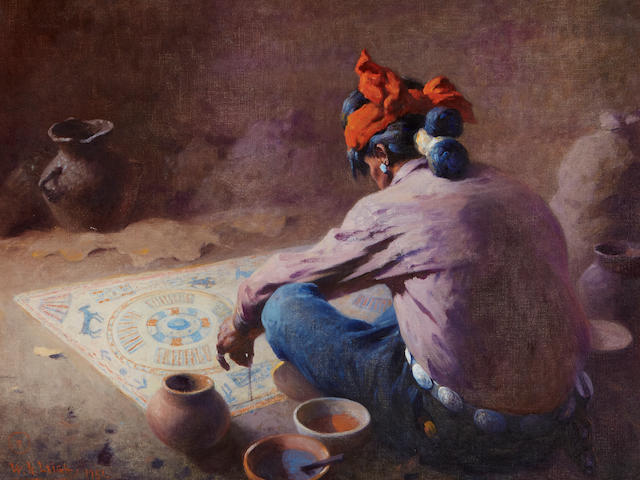 William Robinson Leigh (1866-1955) The Sand Painter 25 x 30 1/2in framed 34 x 39in (Painted in 1951.)
