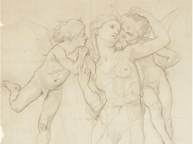 William Adolphe Bouguereau (French, 1825-1905) A study for Tendres Propos 68 1/2 x 43 3/4in (174 x 111.2cm)