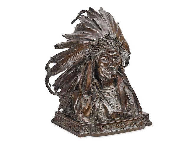 Adolph Alexander Weinman (1870-1952) Chief Black Bird, Ogalalla Sioux 18in high (Modeled in 1903.)