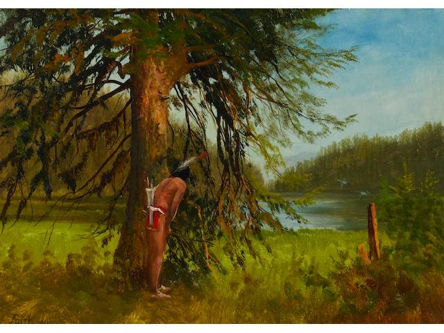 Albert Bierstadt (1830-1902) Indian Hunter 13 x 19in framed 24 1/4 x 30in