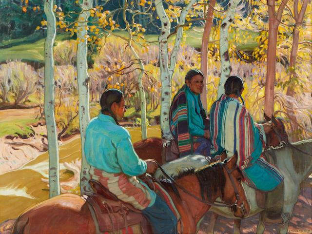 Ernest Martin Hennings (1886-1956) Indian Horsemen 36 x 40in framed 45 x 49in (Painted circa 1925.)
