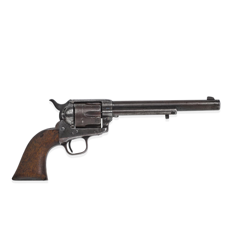JOHNNY RINGO'S COLT SINGLE ACTION ARMY REVOLVER FOUND HELD IN HIS HAND WHEN HE WAS FOUND DEAD AT TURKEY CREEK. Serial no. 222 for 1874, .45 caliber, 7 1/4 inch barrel with single line address.