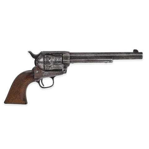 THE GUN THAT KILLED BILLY THE KID: PAT GARRETT'S COLT SINGLE ACTION ARMY REVOLVER USED TO KILL BILLY THE KID. Serial number 55093 for 1880, .44-40 caliber 7 1/2 inch barrel, one line Hartford address crescent ejector rod head.