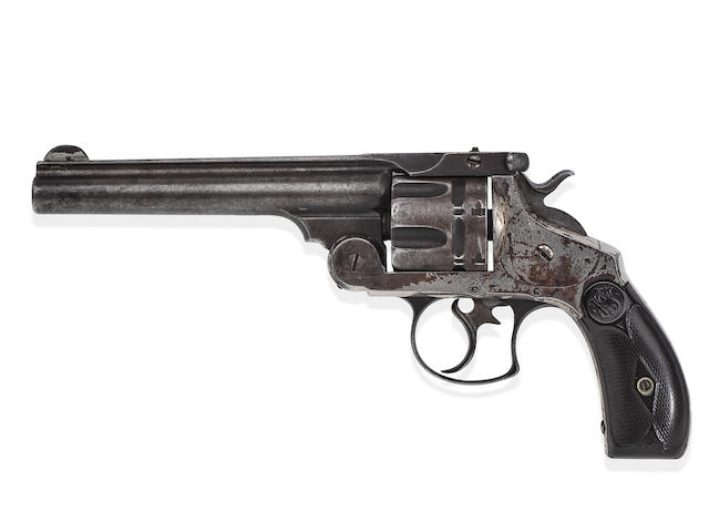 """JOHN WESLEY HARDIN'S SMITH & WESSON DOUBLE ACTION """"FRONTIER"""" REVOLVER CARRIED WHEN HE WAS KILLED BY JOHN SELMAN.  Serial no. 352, circa 1887, .44-40 caliber 6 inch barrel with two line address."""