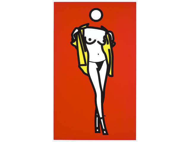 Julian Opie (born 1958); Woman taking off man's shirt 5;
