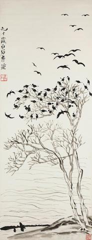 Qi Baishi (1864-1957)  Crows Return to Wintry Trees