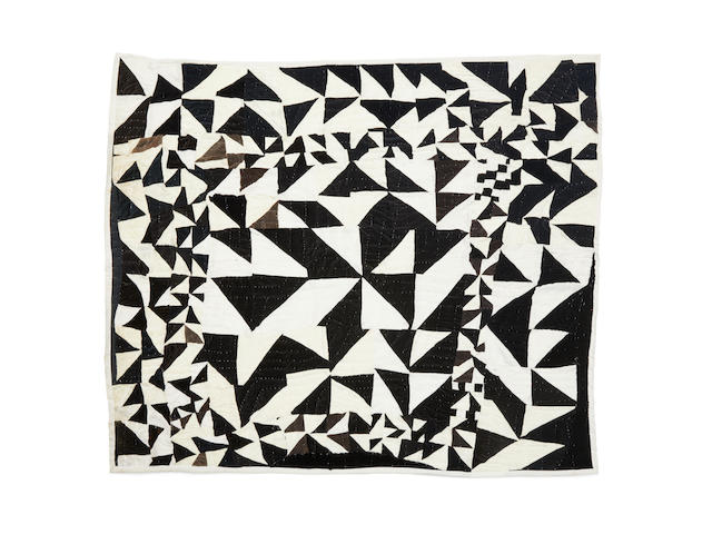 Rosie Lee Tompkins (Effie Mae Howard) (1936-2006) Half-Squares (Black and White Geometric Quilt)1987velvet, velveteen, quilted by Willa Ette Graham and Johnnie Wade55 x 49in (139.7 x 124.5cm)
