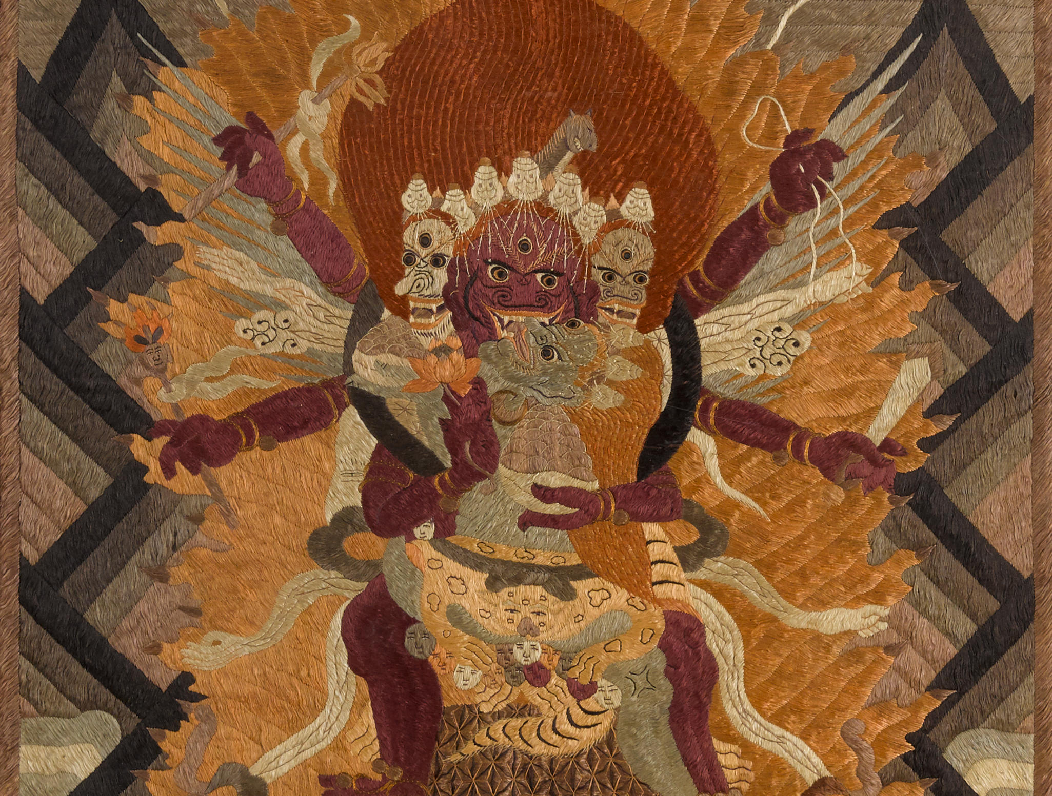 A Sino-Tibetan embroidered thangka of Hayagriva 19th century