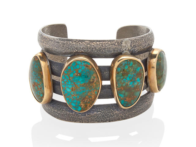 A SILVER, GOLD AND TURQUOISE CUFF, CHARLES LOLOMA, CIRCA 1970