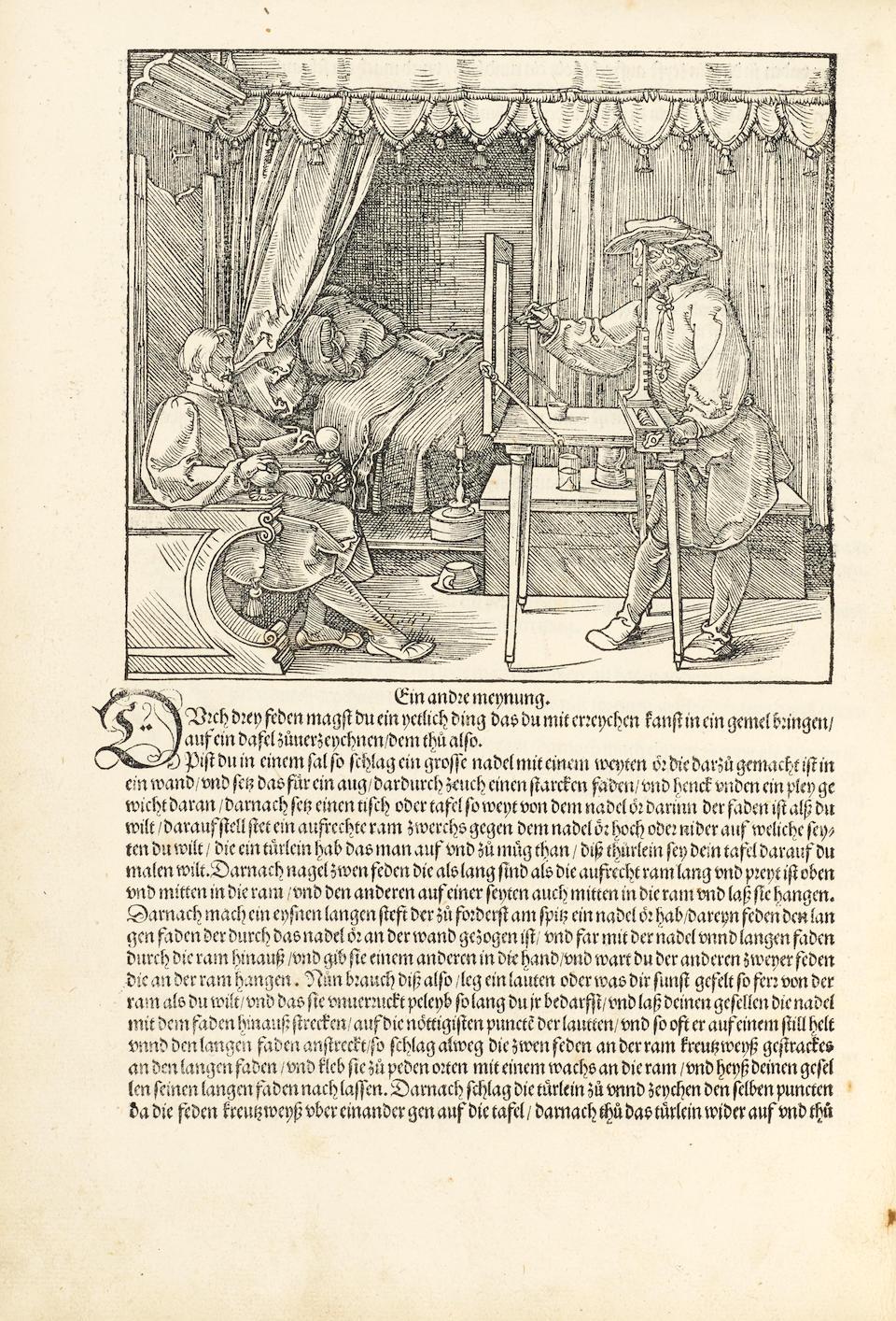 DÜRER, ALBRECHT. 1471-1528. Underweysung der messung, mit dem zirckel unn richtscheyt in Linien ebnen unnd gantzen corporen.  Nuremberg: [Hieronymus Andreas Formschneider], 1525.