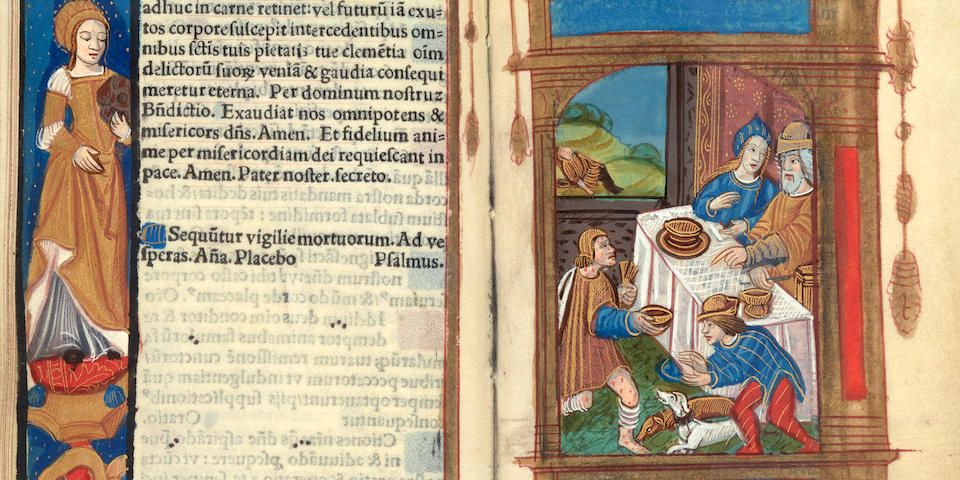 ILLUMINATED BOOK OF HOURS USE OF ROME. Book of Hours, use of Rome.  Paris: Gilles and Germain Hardouyn, [c.1513; almanac for 1513-1527].