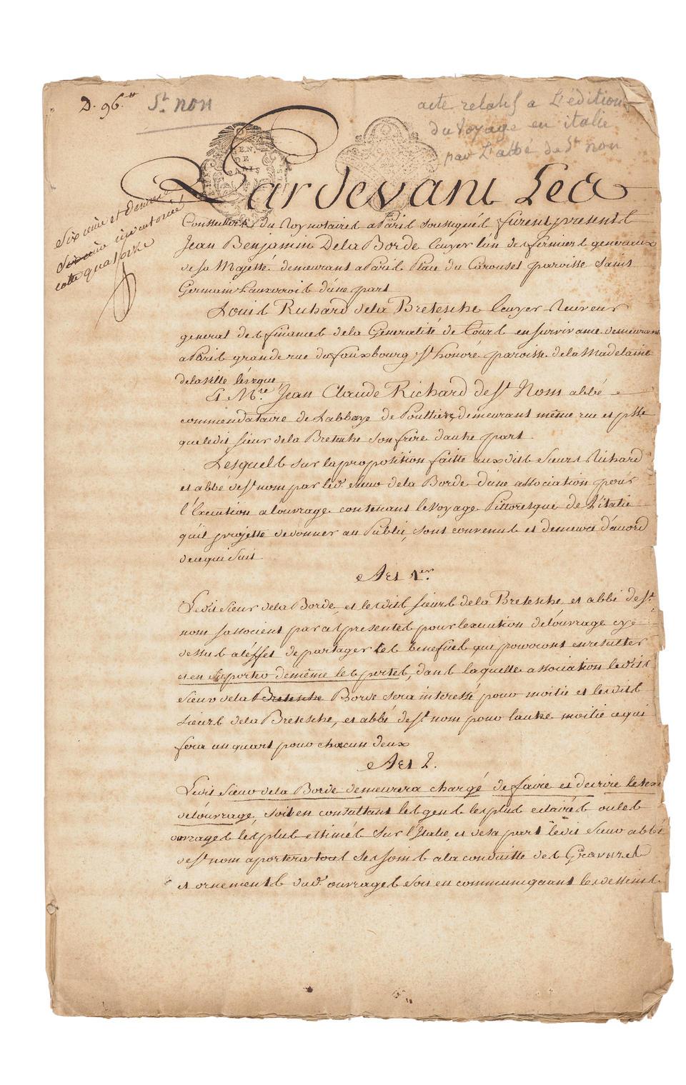 SAINT-NON, JEAN-CLAUDE RICHARD, ABBÉ DE. 1727-1791. Voyage pittoresque ou description des royaumes de Naples et de Sicile.  Paris: 1781-1786.
