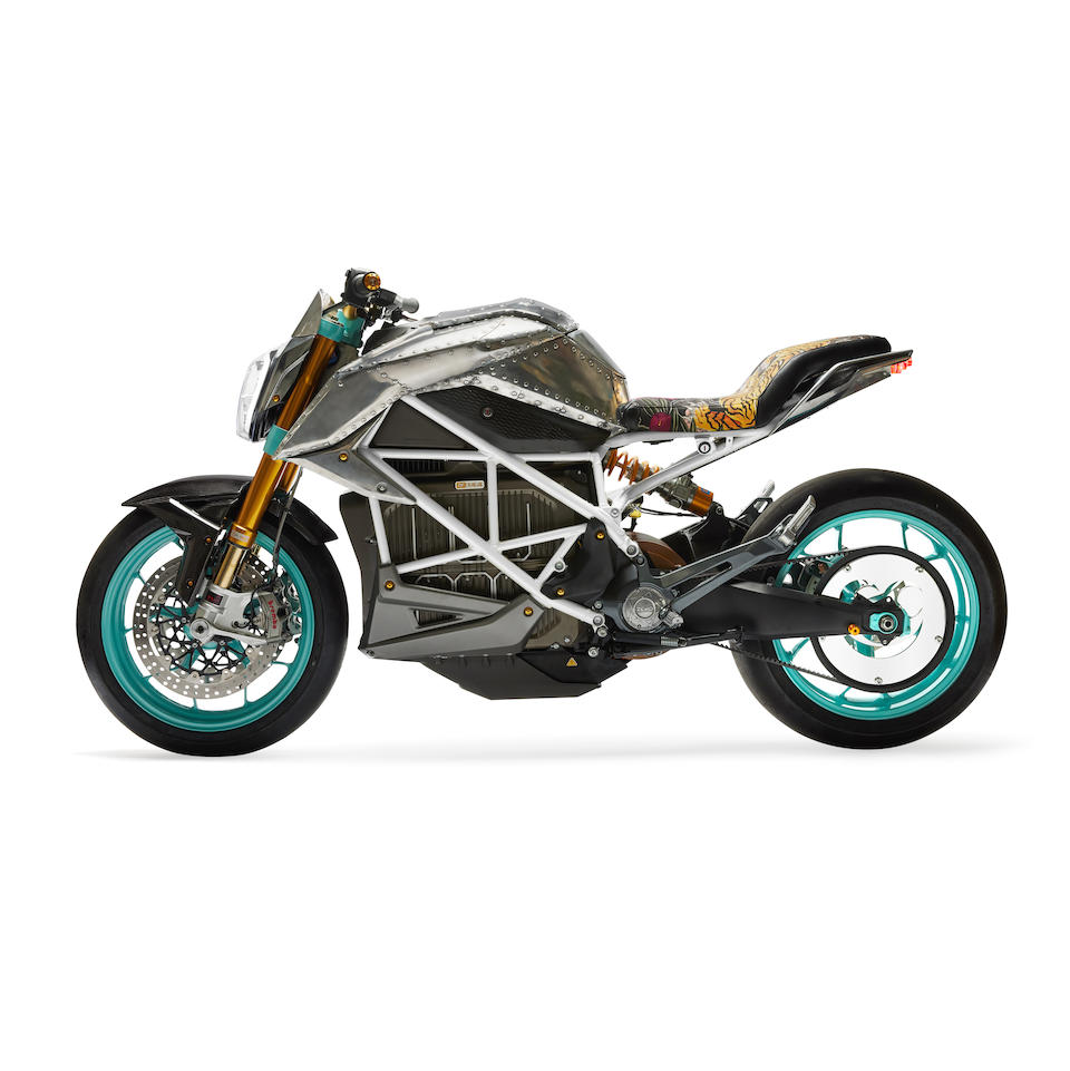 Tinker Hatfield X SEE SEE Custom Electric SR/F Zero Motorcycle2020VIN No. 538ZFAZ71LCK1303accompanied by the original artwork for the seat by Drat Diestler, charging cable and stand