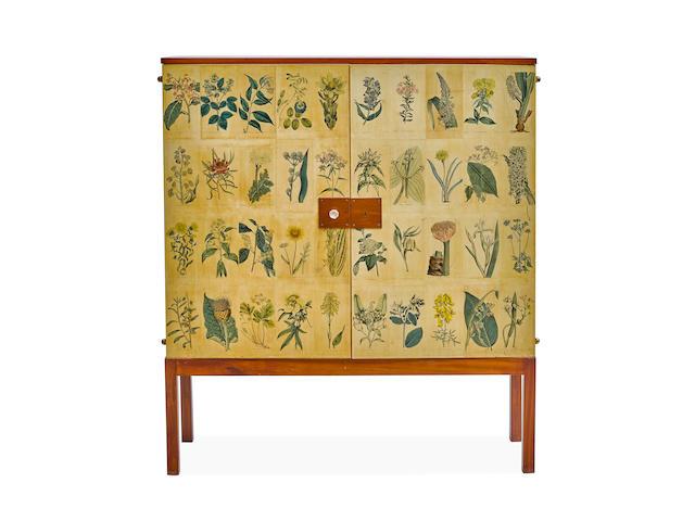 Josef Frank (1885-1967) Flora Cabinetcirca 1950printed paper, mahoganyheight 55 1/4in (140.3cm); width 47 1/2in (120.6cm); depth 16in (40.6cm)